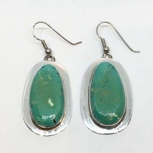 Navajo Sterling Silver Green Turquoise Earrings